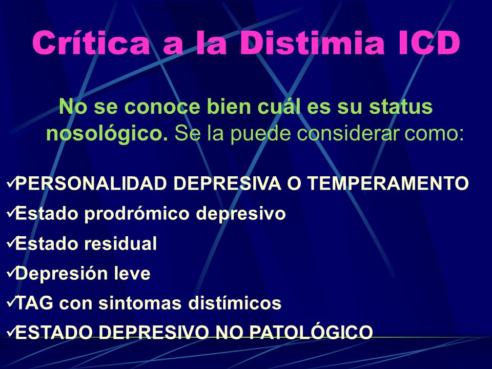 Crítica a la Distimia ICD