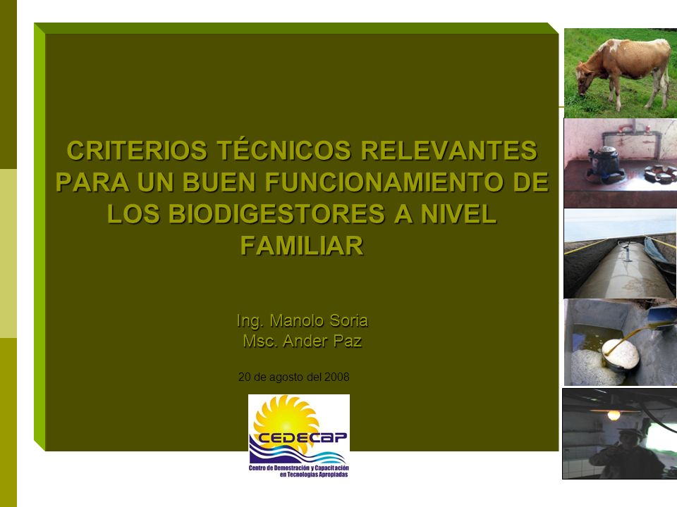 CRITERIOS TÉCNICOS RELEVANTES PARA UN BUEN FUNCIONAMIENTO DE LOS BIODIGESTORES A NIVEL FAMILIAR Ing. Manolo Soria Msc. Ander Paz