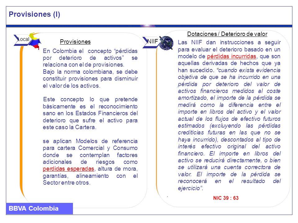Provisiones (I) BBVA Colombia Dotaciones / Deterioro de valor