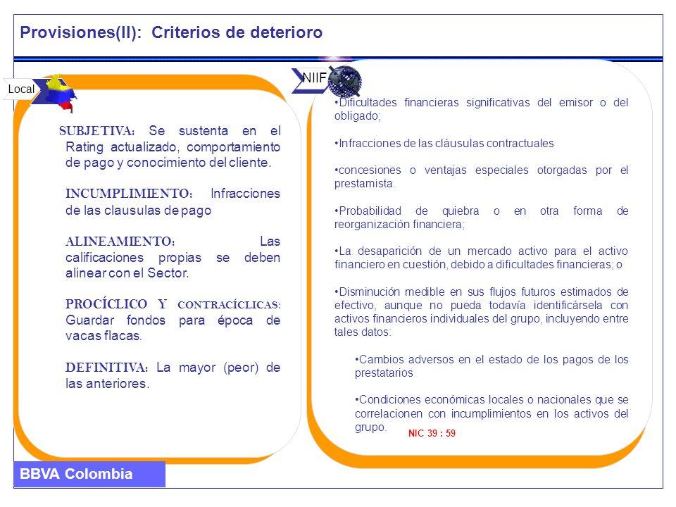 Provisiones(II): Criterios de deterioro