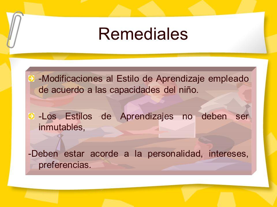 Remediales -Modificaciones al Estilo de Aprendizaje empleado de acuerdo a las capacidades del niño.
