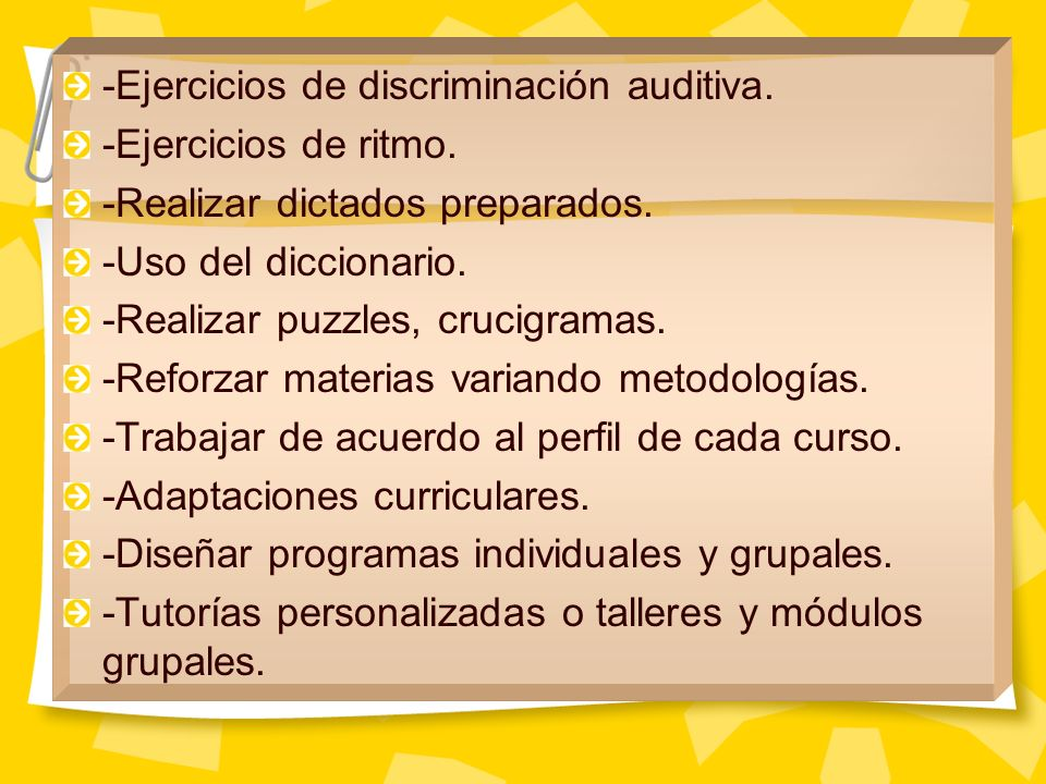 -Ejercicios de discriminación auditiva.
