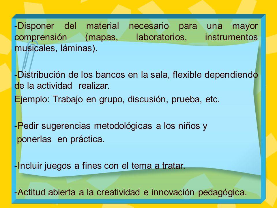 -Disponer del material necesario para una mayor comprensión (mapas, laboratorios, instrumentos musicales, láminas).