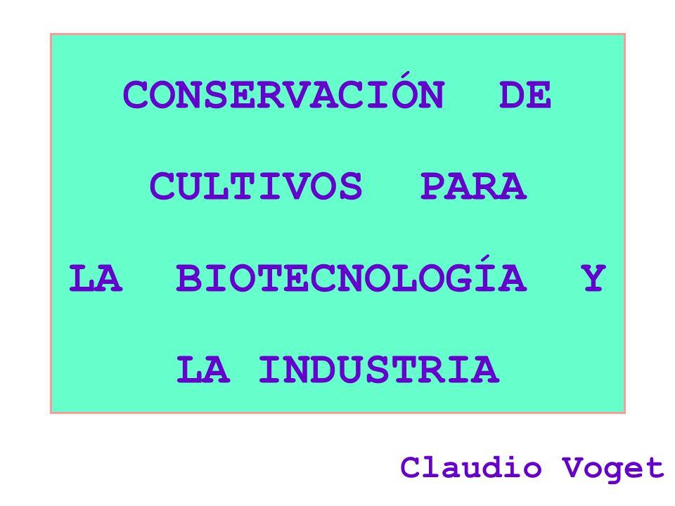 CONSERVACIÓN DE CULTIVOS PARA LA BIOTECNOLOGÍA Y LA INDUSTRIA