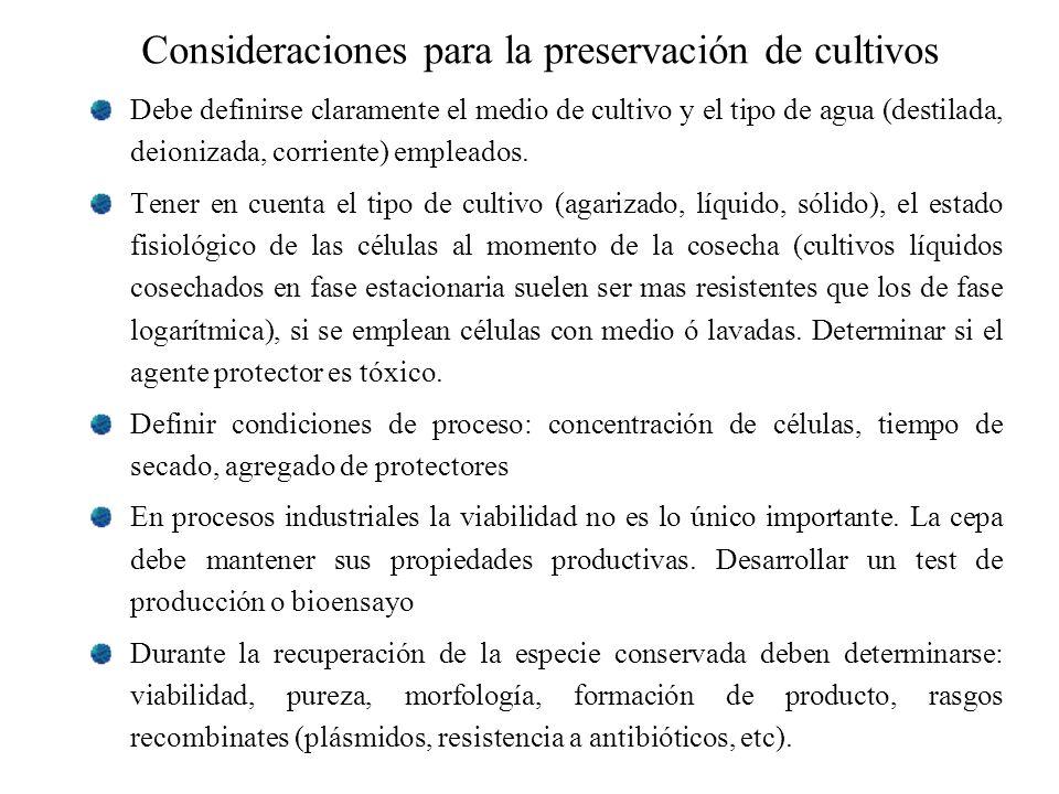 Consideraciones para la preservación de cultivos