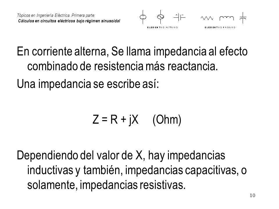 Una impedancia se escribe así: Z = R + jX (Ohm)