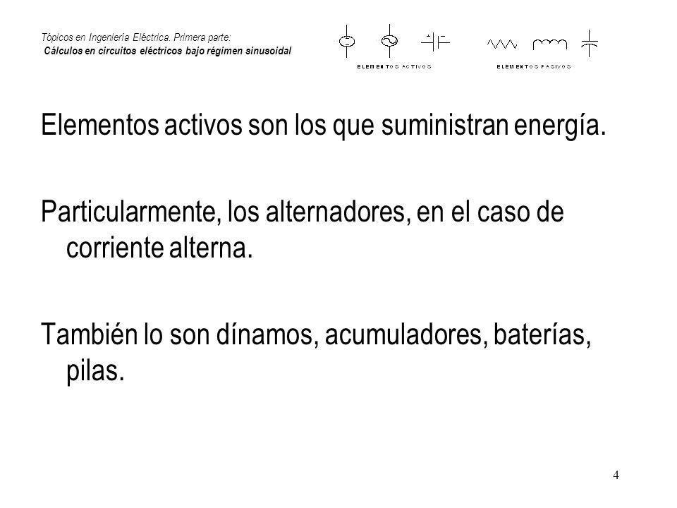 Elementos activos son los que suministran energía.