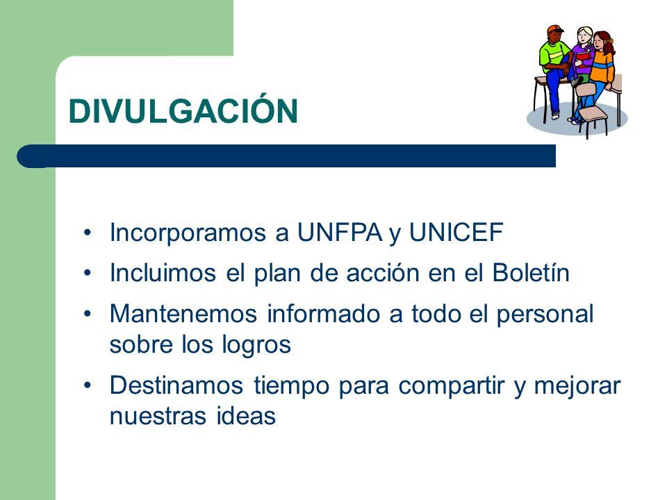 DIVULGACIÓN Incorporamos a UNFPA y UNICEF