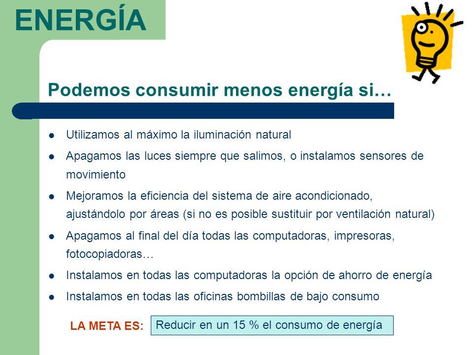 ENERGÍA Podemos consumir menos energía si…