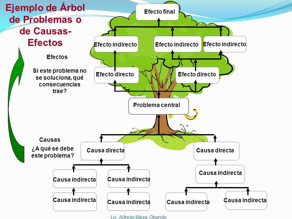 Ejemplo de Árbol de Problemas o de Causas-Efectos