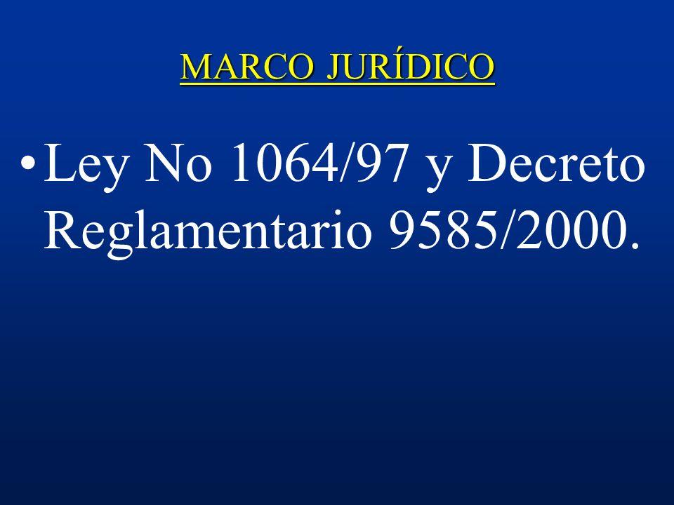 Ley No 1064/97 y Decreto Reglamentario 9585/2000.