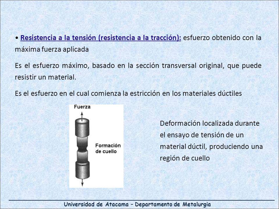 Resistencia a la tensión (resistencia a la tracción): esfuerzo obtenido con la máxima fuerza aplicada