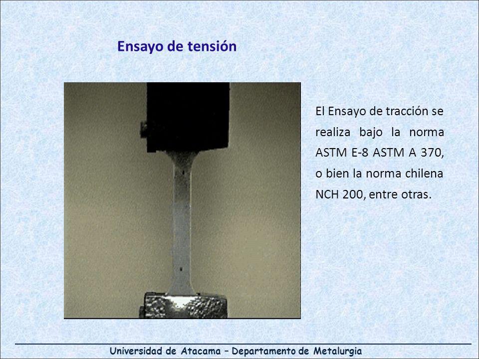 Ensayo de tensión El Ensayo de tracción se realiza bajo la norma ASTM E-8 ASTM A 370, o bien la norma chilena NCH 200, entre otras.