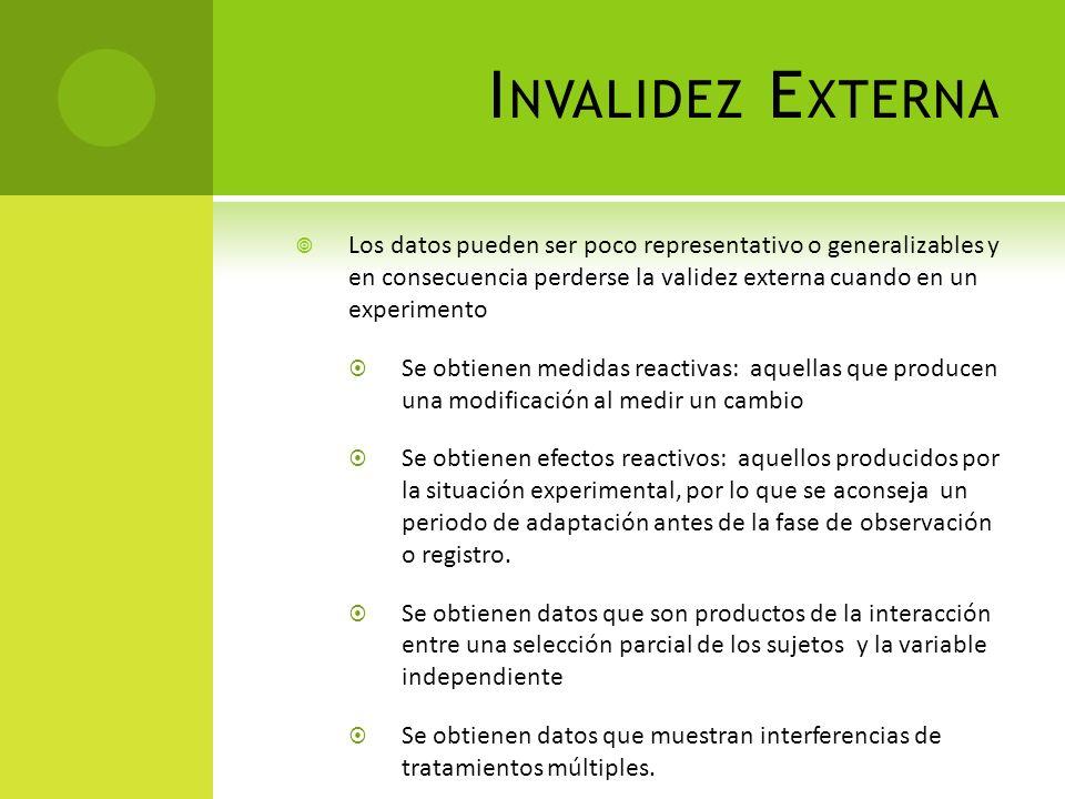 Invalidez Externa Los datos pueden ser poco representativo o generalizables y en consecuencia perderse la validez externa cuando en un experimento.