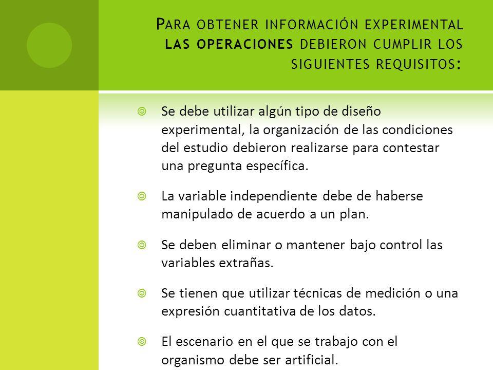 Para obtener información experimental las operaciones debieron cumplir los siguientes requisitos: