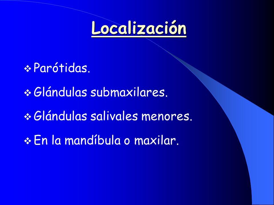 Localización Parótidas. Glándulas submaxilares.