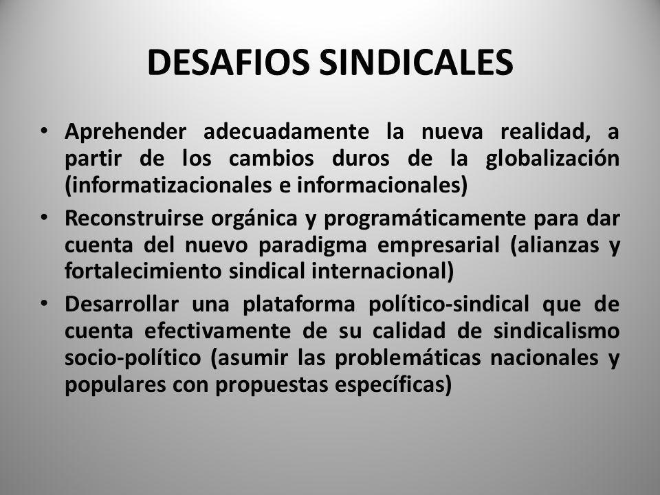 DESAFIOS SINDICALES