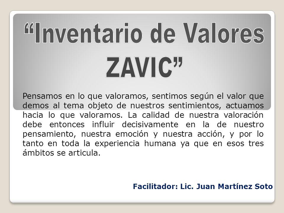 Inventario de Valores Facilitador: Lic. Juan Martínez Soto
