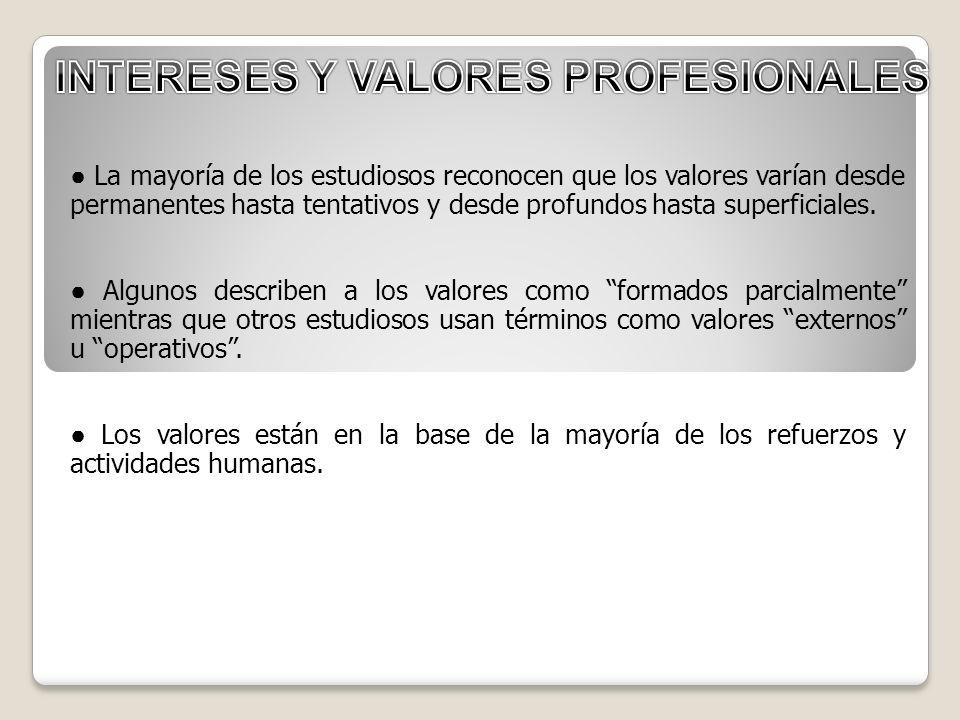 INTERESES Y VALORES PROFESIONALES