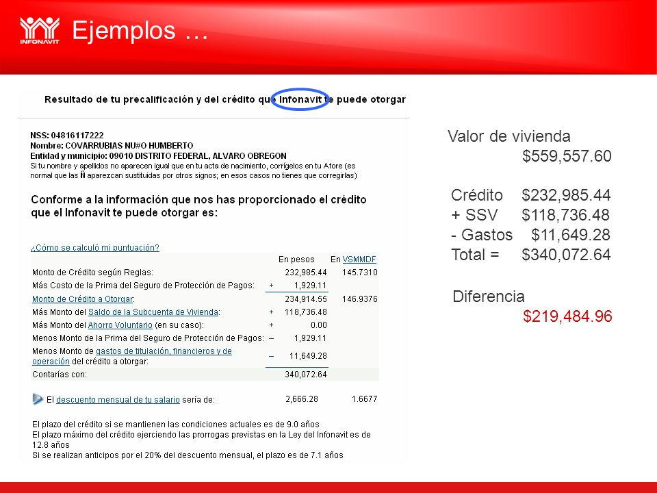 Ejemplos … Valor de vivienda $559,557.60 Crédito $232,985.44