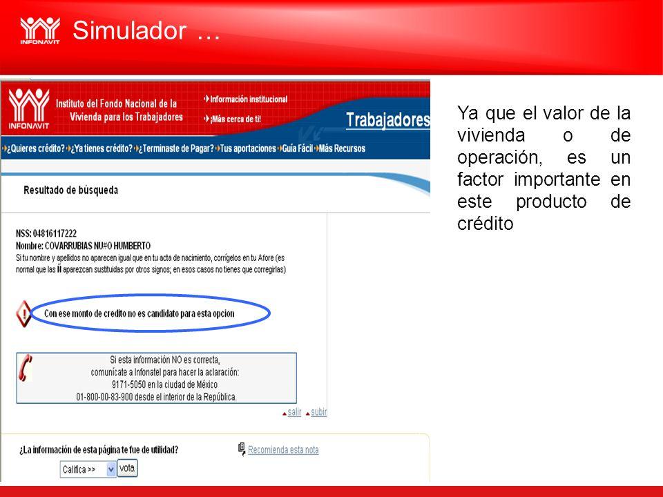 Simulador …Ya que el valor de la vivienda o de operación, es un factor importante en este producto de crédito.