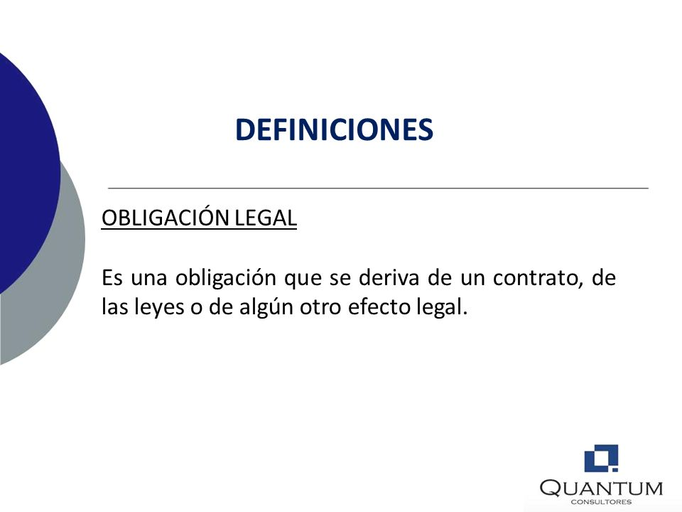 DEFINICIONES OBLIGACIÓN LEGAL