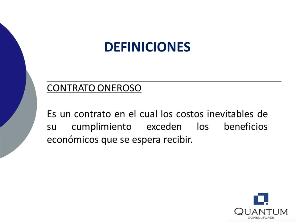 DEFINICIONES CONTRATO ONEROSO