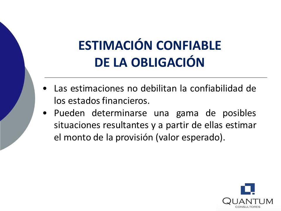 ESTIMACIÓN CONFIABLE DE LA OBLIGACIÓN