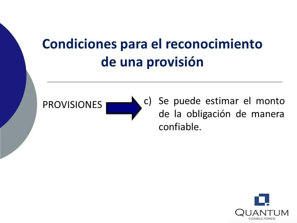 Condiciones para el reconocimiento de una provisión