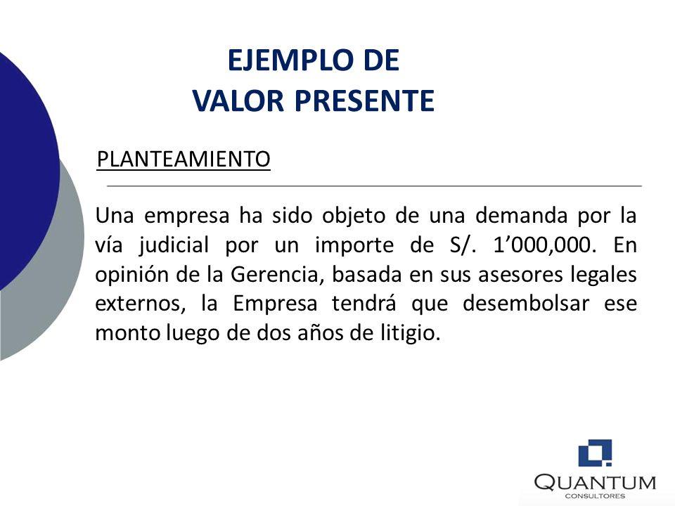 EJEMPLO DE VALOR PRESENTE