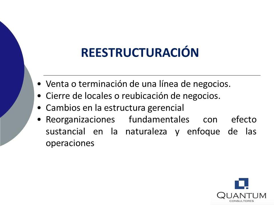 REESTRUCTURACIÓN Venta o terminación de una línea de negocios.