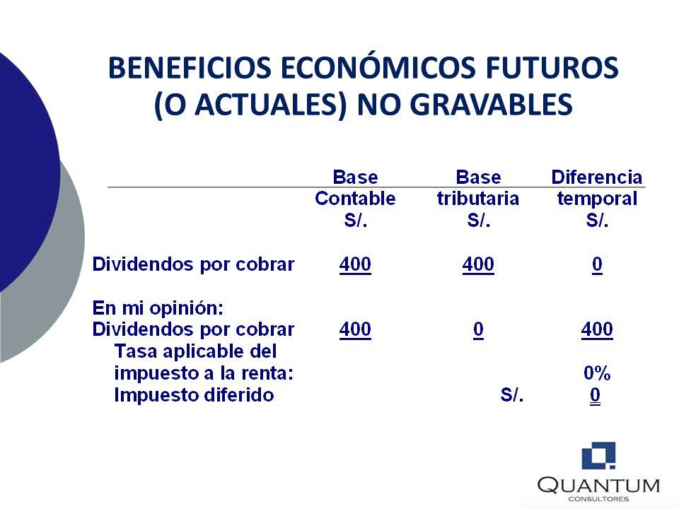 BENEFICIOS ECONÓMICOS FUTUROS (O ACTUALES) NO GRAVABLES