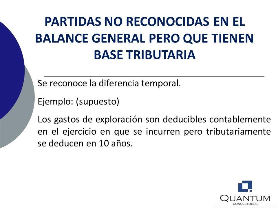PARTIDAS NO RECONOCIDAS EN EL BALANCE GENERAL PERO QUE TIENEN BASE TRIBUTARIA