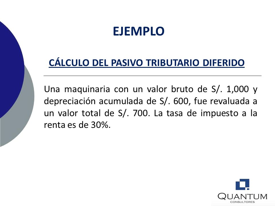 CÁLCULO DEL PASIVO TRIBUTARIO DIFERIDO