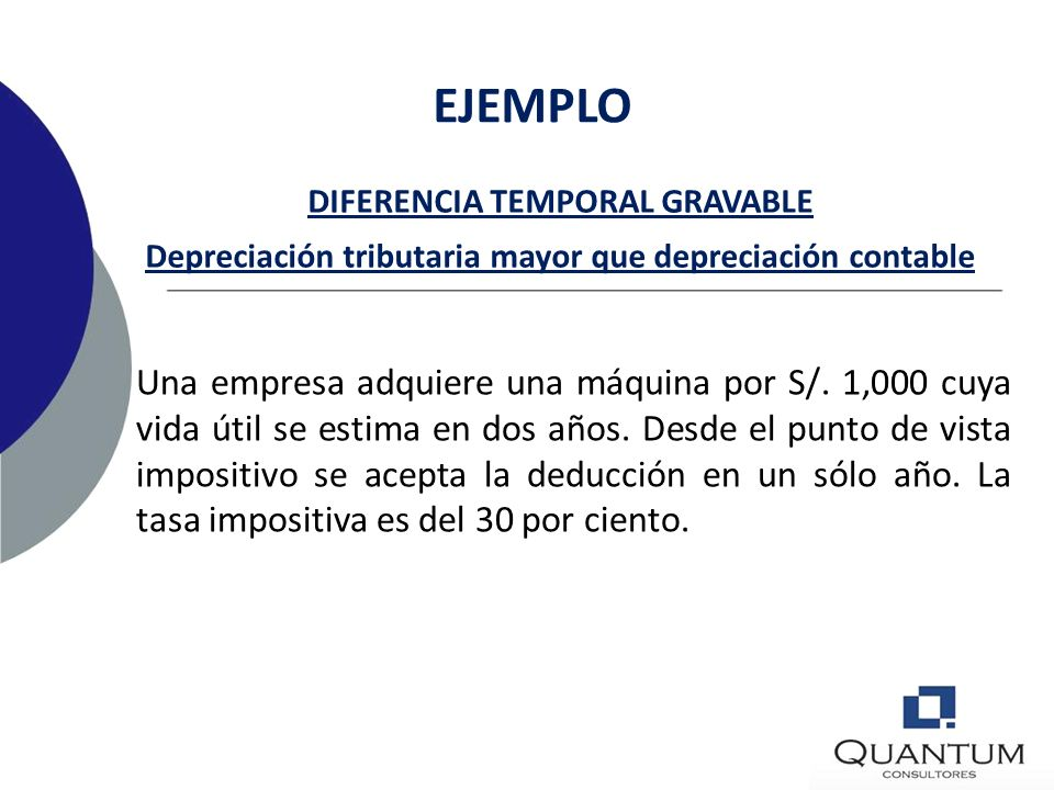 EJEMPLO DIFERENCIA TEMPORAL GRAVABLE. Depreciación tributaria mayor que depreciación contable.