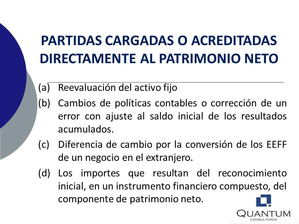 PARTIDAS CARGADAS O ACREDITADAS DIRECTAMENTE AL PATRIMONIO NETO