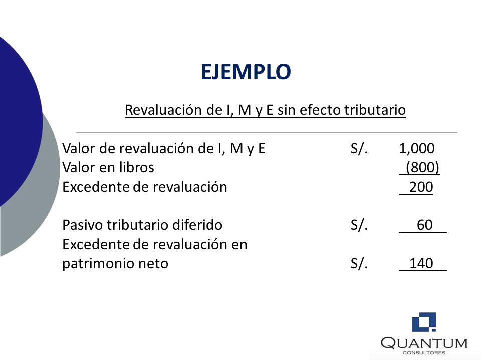 Revaluación de I, M y E sin efecto tributario