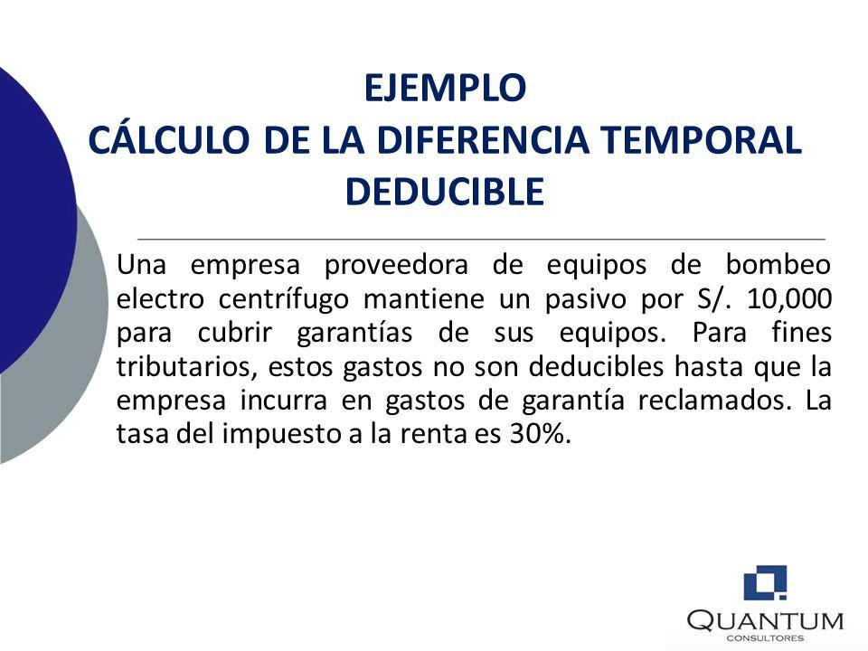 EJEMPLO CÁLCULO DE LA DIFERENCIA TEMPORAL DEDUCIBLE