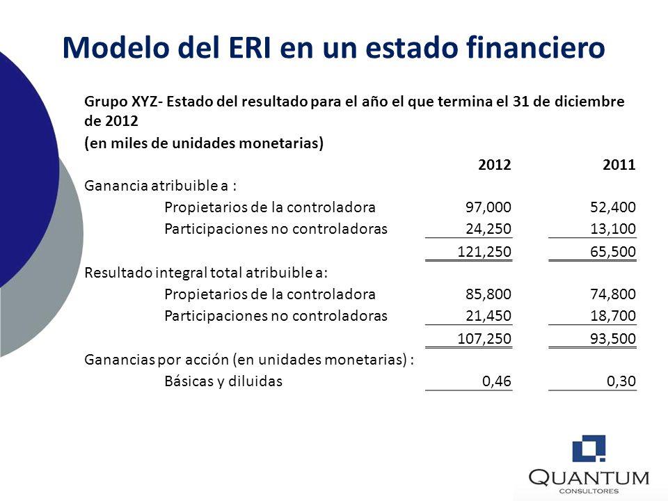 Modelo del ERI en un estado financiero