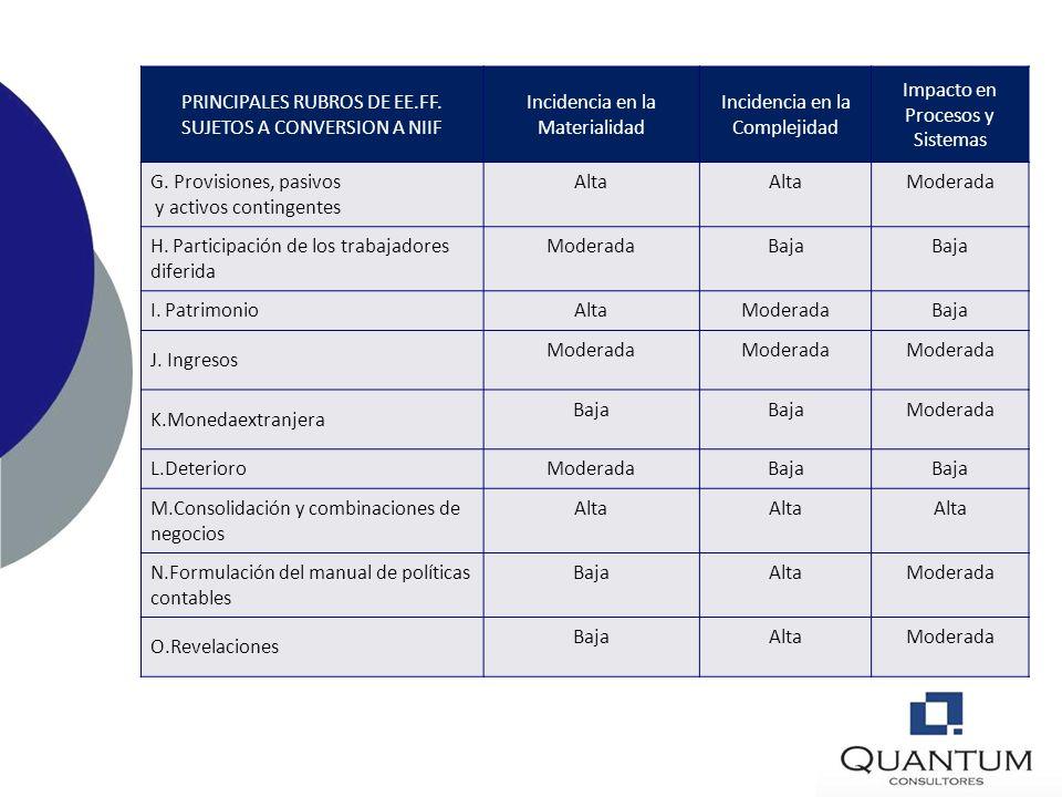 PRINCIPALES RUBROS DE EE.FF. SUJETOS A CONVERSION A NIIF