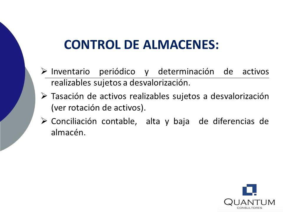 CONTROL DE ALMACENES: Inventario periódico y determinación de activos realizables sujetos a desvalorización.