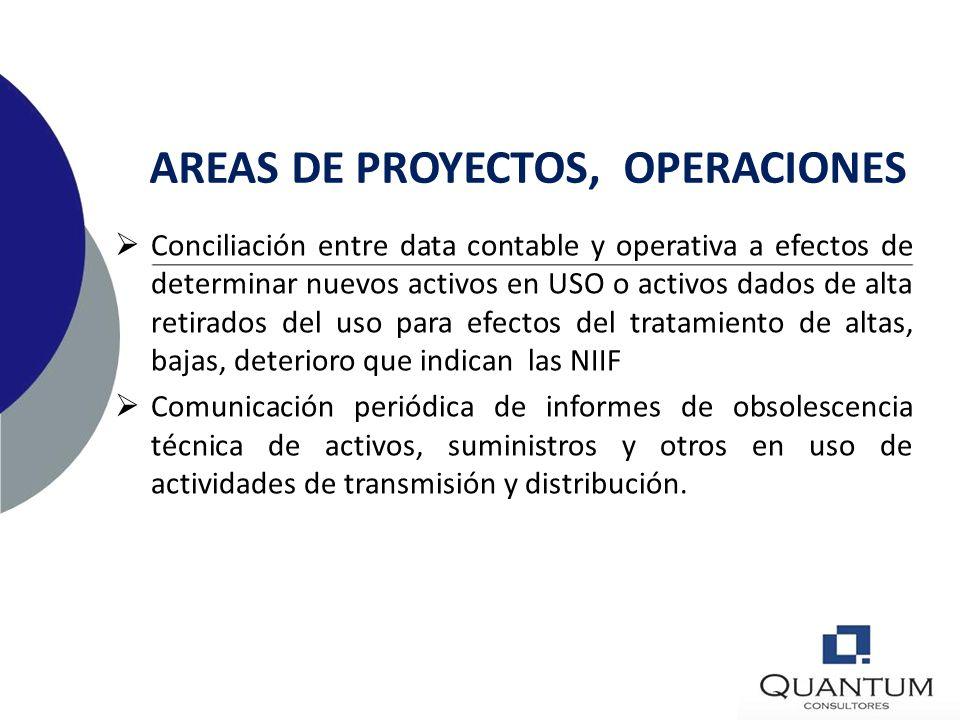 AREAS DE PROYECTOS, OPERACIONES