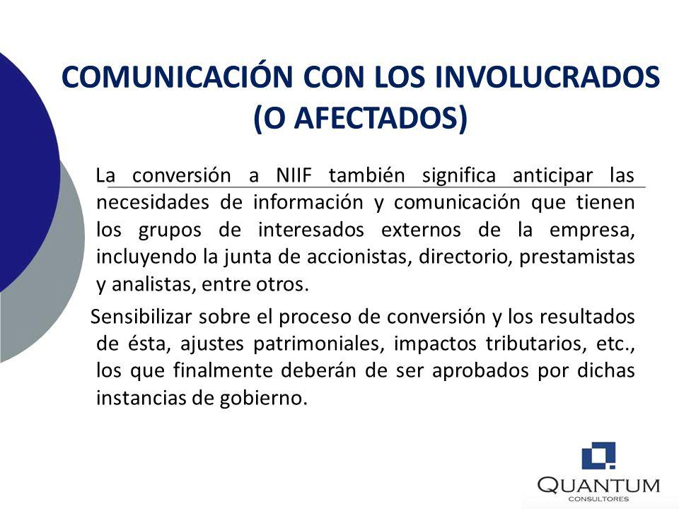 COMUNICACIÓN CON LOS INVOLUCRADOS (O AFECTADOS)