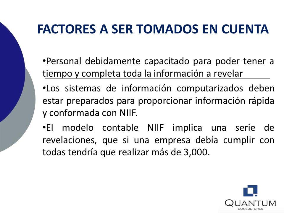 FACTORES A SER TOMADOS EN CUENTA