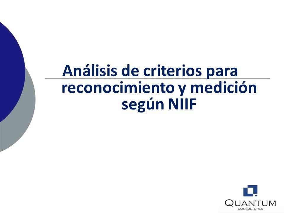 Análisis de criterios para reconocimiento y medición según NIIF