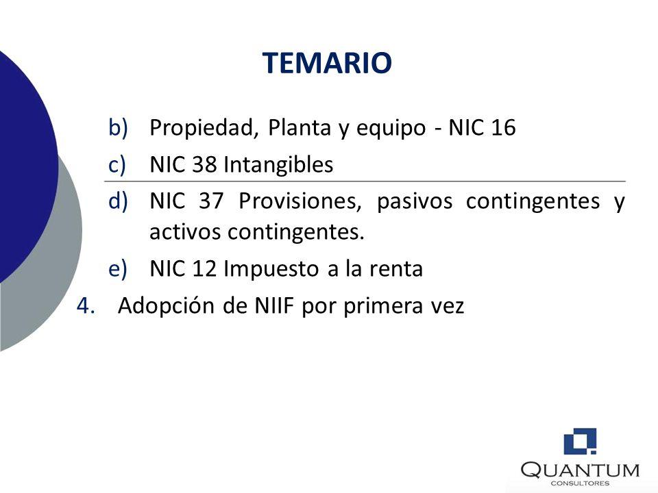 TEMARIO Propiedad, Planta y equipo - NIC 16 NIC 38 Intangibles