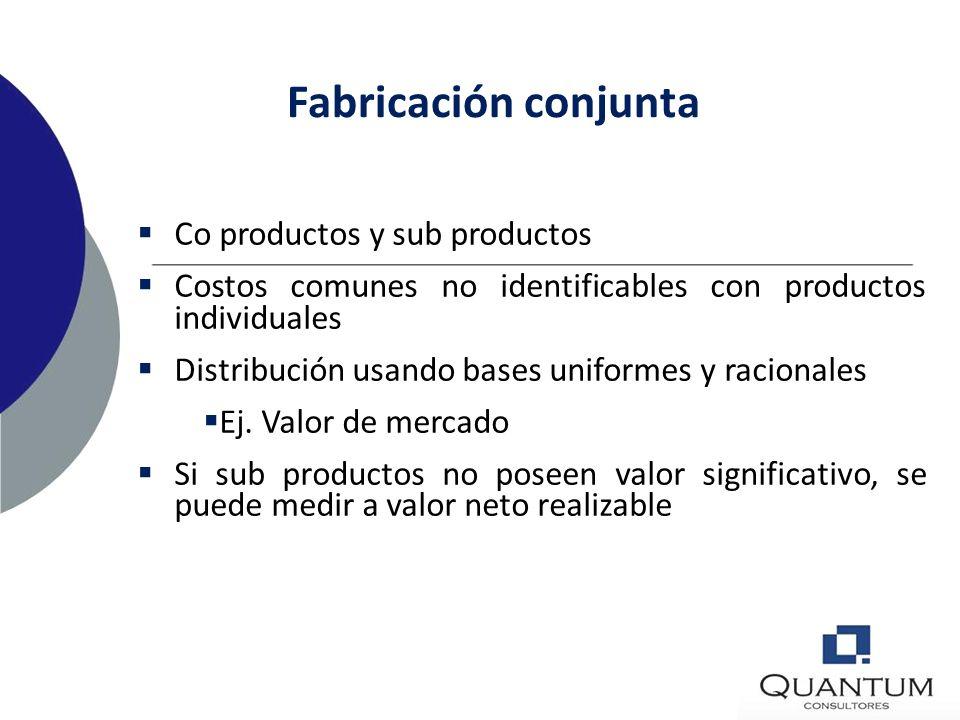 Fabricación conjunta Co productos y sub productos