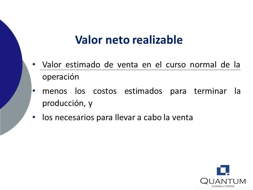 Valor neto realizable Valor estimado de venta en el curso normal de la operación. menos los costos estimados para terminar la producción, y.