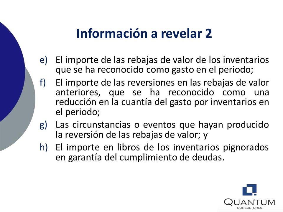 Información a revelar 2 El importe de las rebajas de valor de los inventarios que se ha reconocido como gasto en el periodo;
