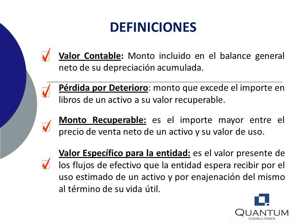 DEFINICIONES Valor Contable: Monto incluido en el balance general neto de su depreciación acumulada.